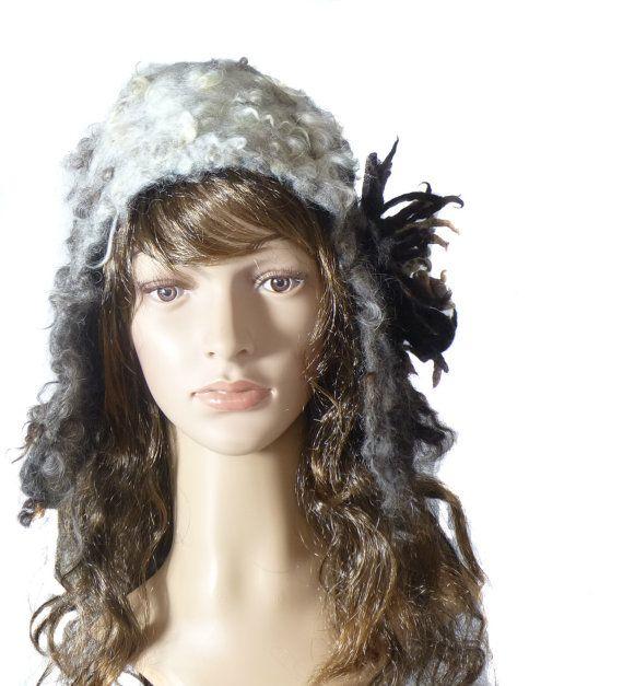 A ear flap style hat,Unique woman hat,Felt fur hat,  Pure wool, Lincoln Fleece, Handmade hat , handfelted hat, stylish winter hat