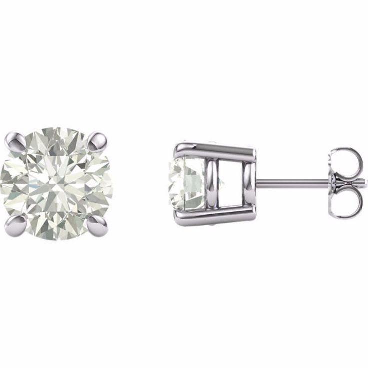 14K White 8mm Round Forever Brilliant® Moissanite Earrings 4CT DEW/W Rose