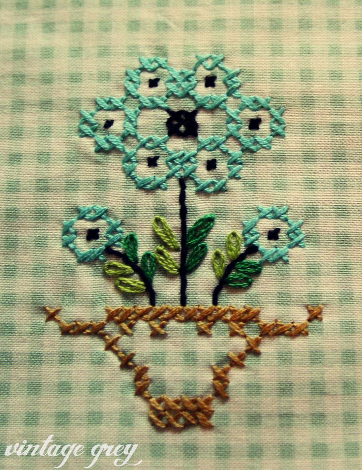 vintage grey- gingham and cross-stitching