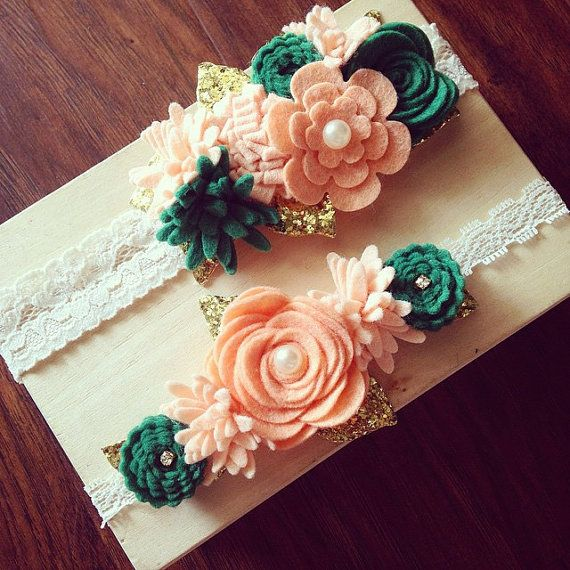 2 lace wool felt flower headbands - baby girl - newborn - you pick colors - peach - ivory - photo prop - photography - vintage - bow - hair