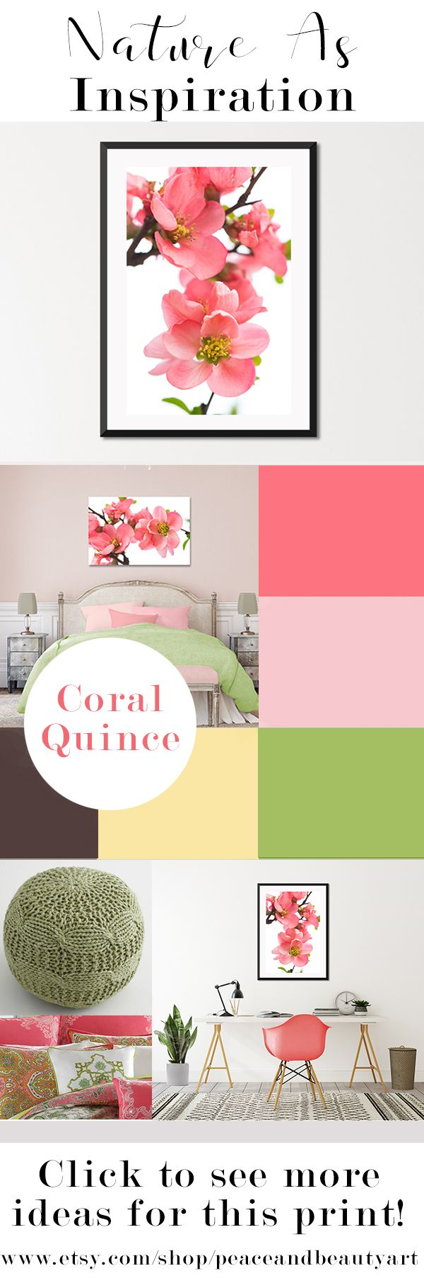 This coral, peach, light pink, white and green, feminine, minimalist, flower art is perfect in a nursery, teen or little girl bedroom, master bedroom, bathroom or office. An extra large wall art print or oversized canvas gives maximum impact and will bring in a fresh pop of color to a variety of decor styles. This piece offers a lot of versatility because it looks great hung vertically or horizontally. Coral, pink, green, yellow, brown, color palette