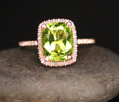 Rose Gold Peridot Engagement Ring in 14k Rose by Twoperidotbirds