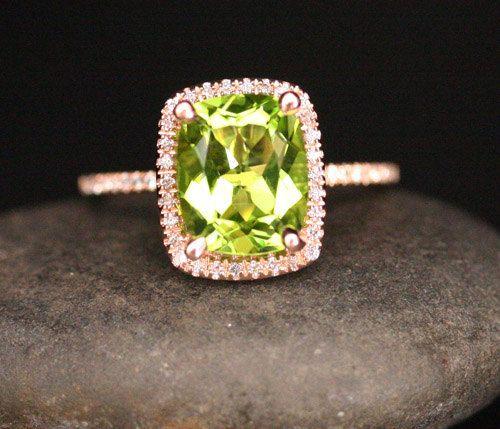 Rose Gold Peridot Engagement Ring in 14k Rose by Twoperidotbirds
