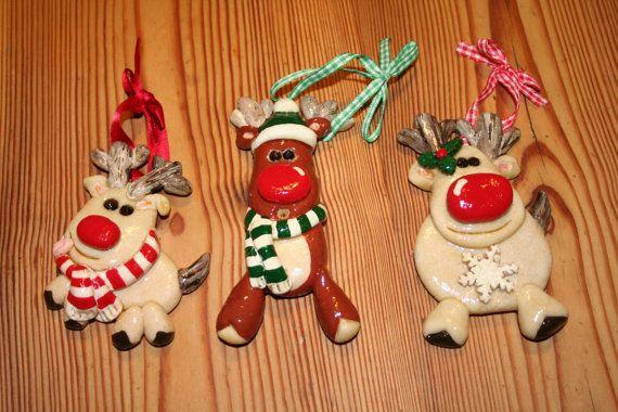 Set of 3 Hand Made Salt Dough Christmas Tree by CraftyCreaturesUK
