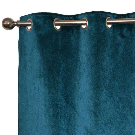 Le rideau velours doublé bleu canard                                                                                                                                                                                 Plus