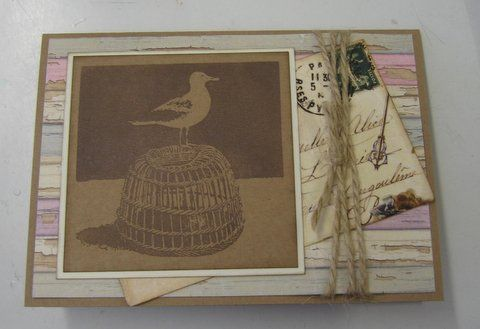 Handmade card. Seagull on Lobster Pot Art Stamp, rice papers - available at imaginationcrafts.co.uk