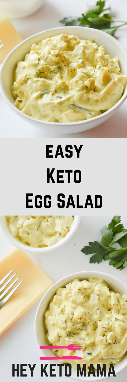 This easy keto egg salad is a quick and healthy low carb lunch with plenty of protein and delicious flavor! | heyketomama.com