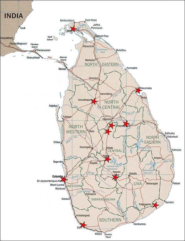 Главные достопримечательности и пляжи (курорты) Шри-Ланки на карте острова   Шри-Ланка на карте мира   Позитивные путешествия по Азии от AsiaPositive.com Остров в Индийском океане Шри Ланка - это архитектурные и культурные достопримечательности, красивая природа и много песчаных пляжей, интересная культура и вкусная кухня. Здесь есть, что посмотреть в любое время года. Отпуск на Шри Ланке стоит планировать минимум 10 дней, так как интересные места и пляжи разбросаны по всему острову.