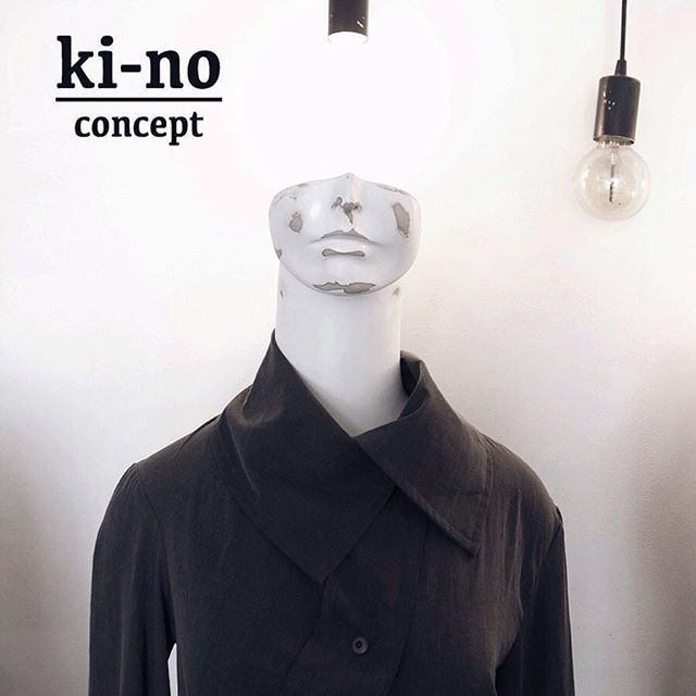 Beauty is in the details.  Assymetrical collar shirt with stonewashed fabric effect. Overlong paneling at back. Forged buttons.  #kinoconcept
