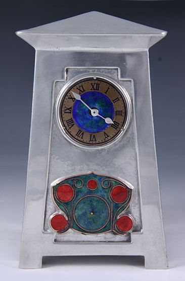 Archibald Knox for Liberty & Co. Architectural Clock, England, c. 1905, Polished pewter clock with enamel & copper dial & enamel panel in typical knox decoration,