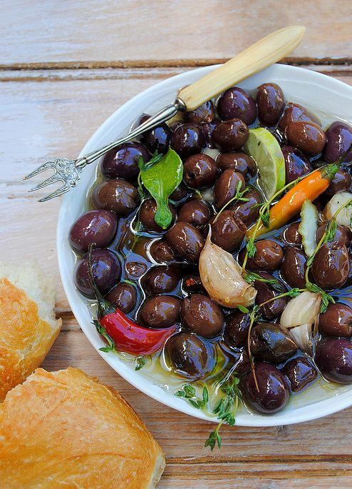 Scrumptious South Africa: Warm Marinated Olives with Lime, Thyme and Chilli