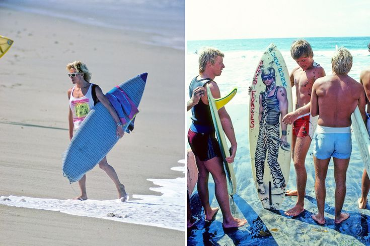 Doug Silva, San Clemente, California, 1989 (left). Dean Hollingsworth, San Diego, California, 1981 (right).  (Love that board graphic)
