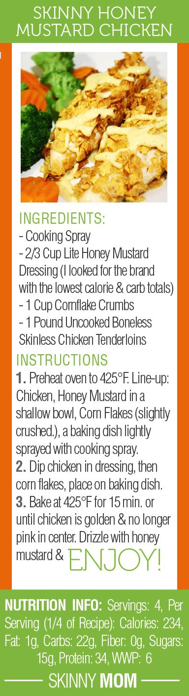 Skinny Honey Mustard Chicken is a family favorite! Love the crispiness on the chicken! Anyone who loves honey mustard will LOVE this recipe!