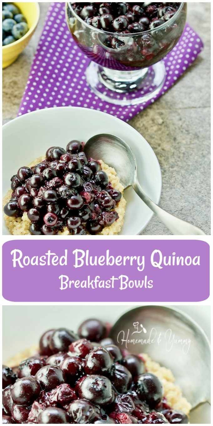 Roasted Blueberry Quinoa Breakfast Bowls are a healthy, nutritious and totally delicious way to get your morning stared. | homemadeandyummy.com