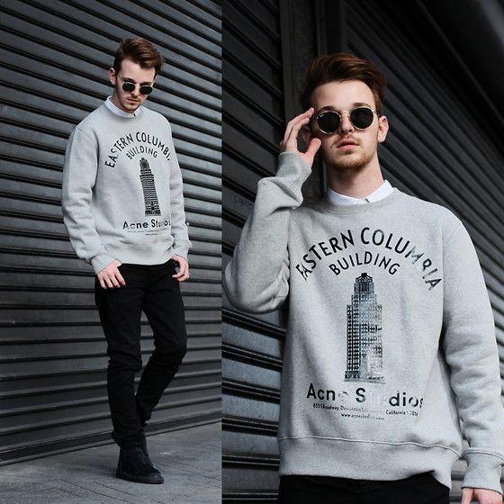 Acne Studios Sweater, Ray Ban Vintage Round Sunnies, Zara Paneled Denim, Alexander Wang Neoprene Sneakers