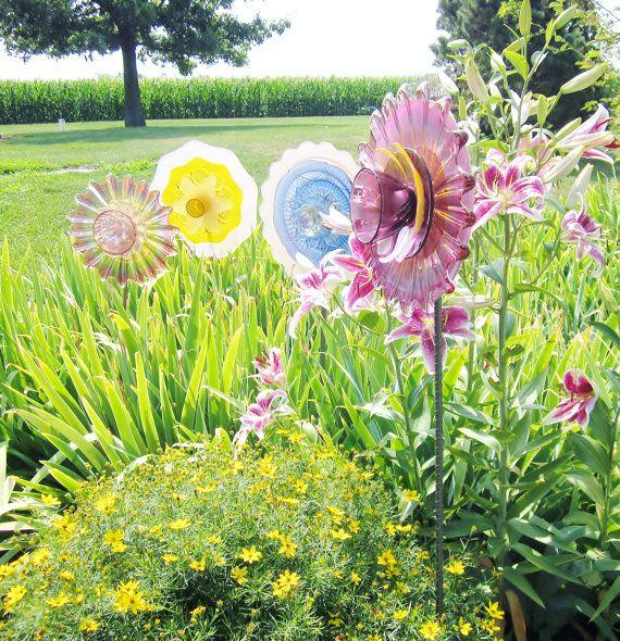 Purple Garden Art Yard Decor Glass Plate Flower Upcycled
