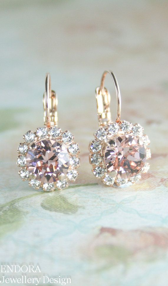 rose gold blush pink Swarovski crystal leverback drop earrings | blush pink wedding | www.endorajewellery.etsy.com