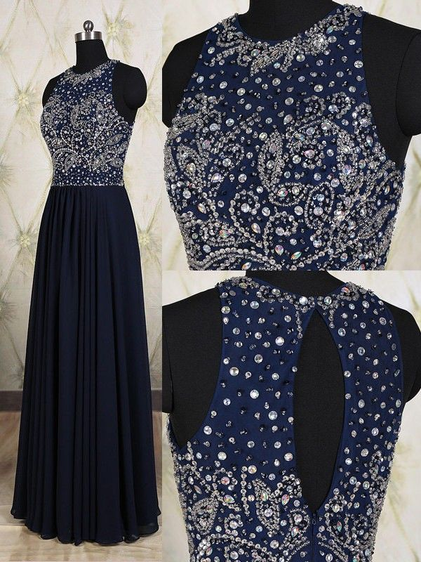 Navy Blue Prom Dresses,Elegant Evening Dresses,Long Formal Gowns,Beaded