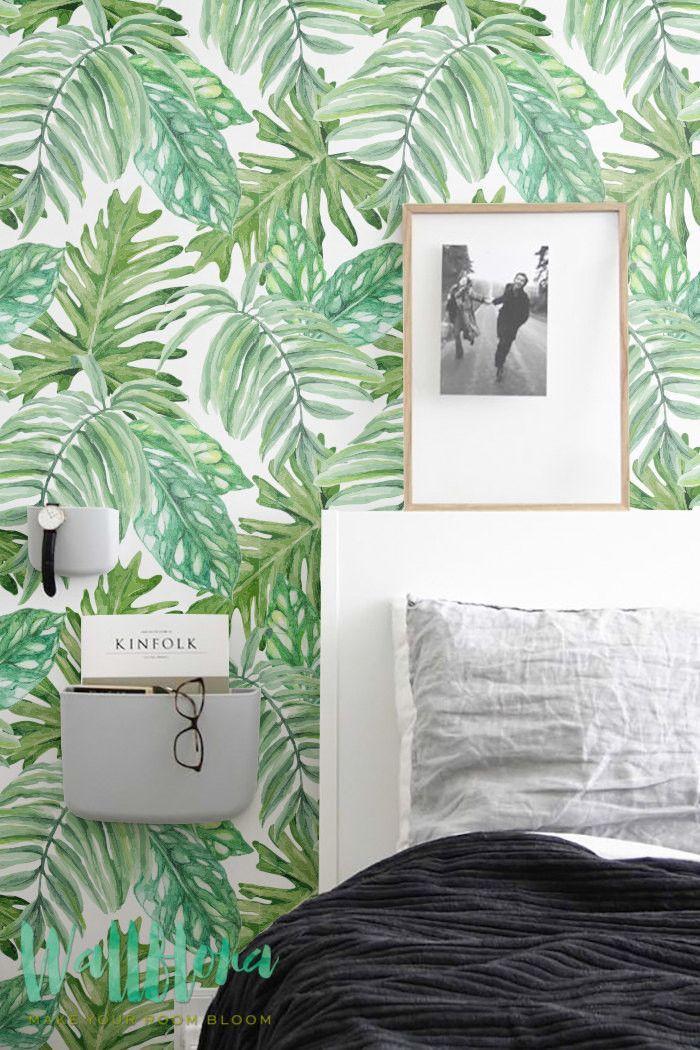 Monstera leaves Pattern Wallpaper | Removable Wallpaper | Monstera leaves Wallpaper | Wall Sticker | Monstera Self Adhesive Wallpaper