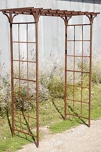 "Wrought Iron Arbor Trellis | 65"" w x 101 5"" T Wrought Iron Mission Style Arbor Metal Flower Garden ..."