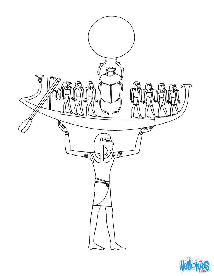 NUN Egyptian goddess & gods Coloring Page