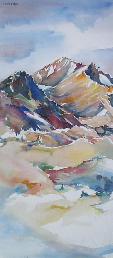 Kim Solga- Mount Shasta with Green Butte in the foreground, a watercolor