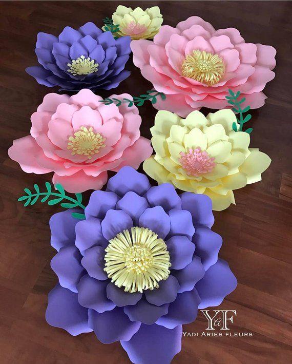 6 Pc Flower Backdrop Paper Flowers Diy Flower Backdrop Paper