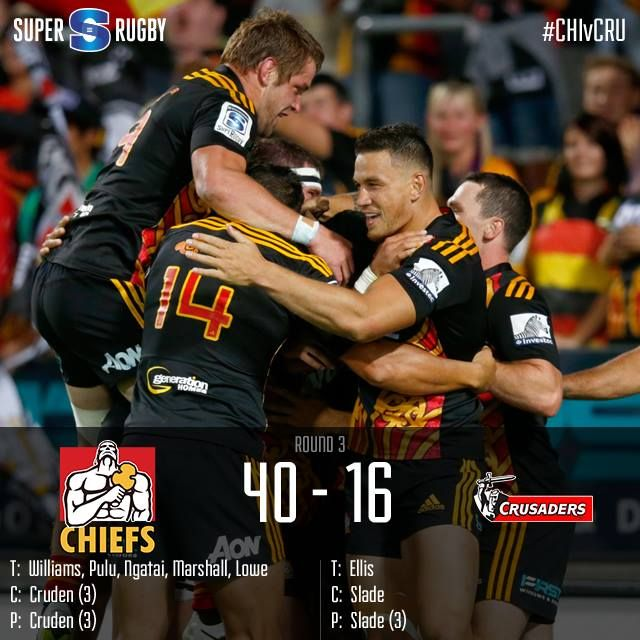 The Chiefs were outstanding as they dispatched the Crusaders 40-16 with a high-energy demolition at Hamilton's Waikato Stadium.