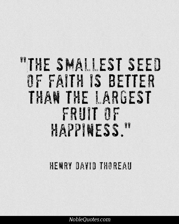 The smallest seed of Faith is better than the largest fruit of Happiness ..