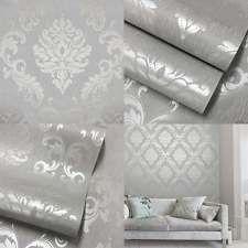 Henderson Interiors Chelsea Glitter Damask Wallpaper Soft Grey Silver - H980504