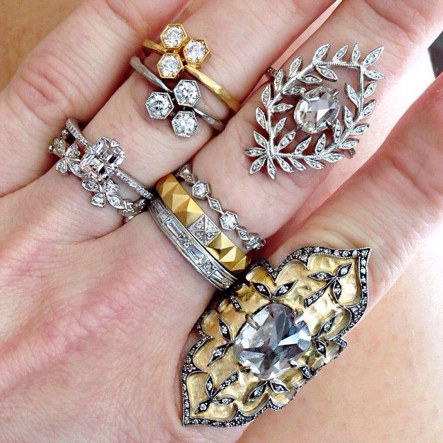 Wreathed Diamonds Ring Set :: Cathy Waterman