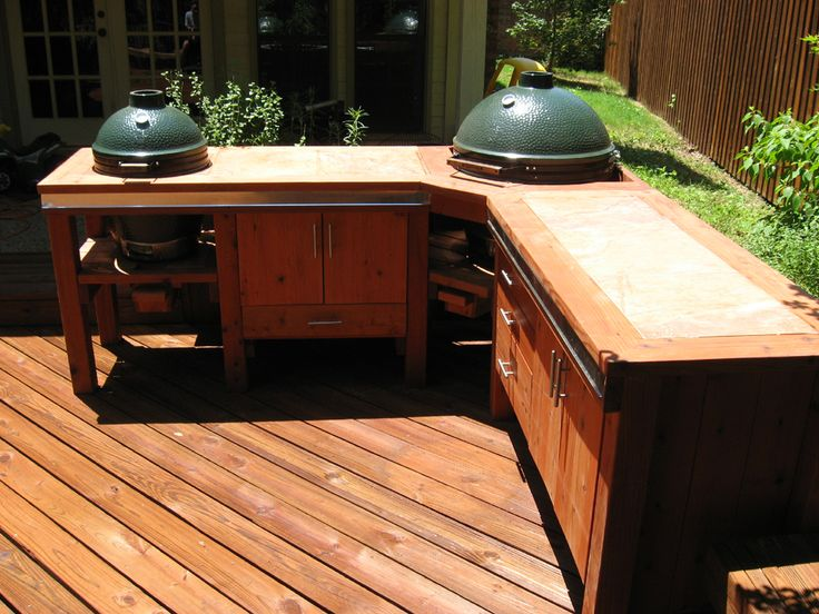 diy big green egg table | ... Deck with Patio Cover Big Green Egg BBQ Station Deck with Stairs