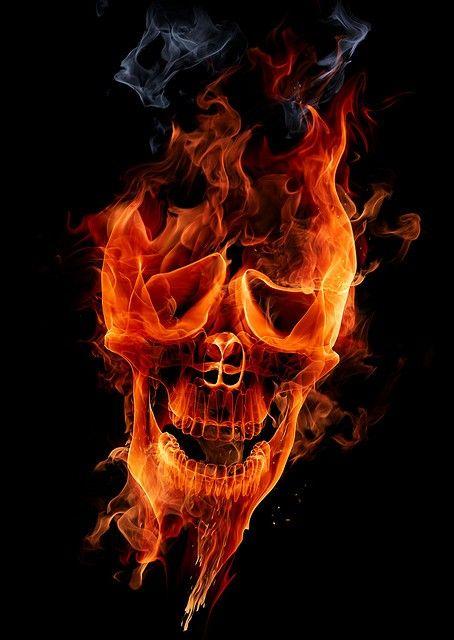 Flaming Skull - Skullspiration.com - skull designs, art, tattoos and more