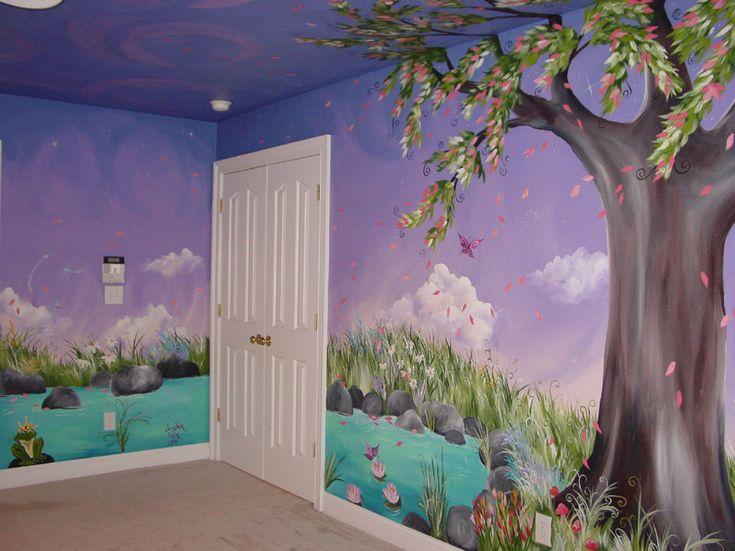 Jaden 39 s dreaming tree custom murals hand painted - Wall mural ideas for bedroom ...