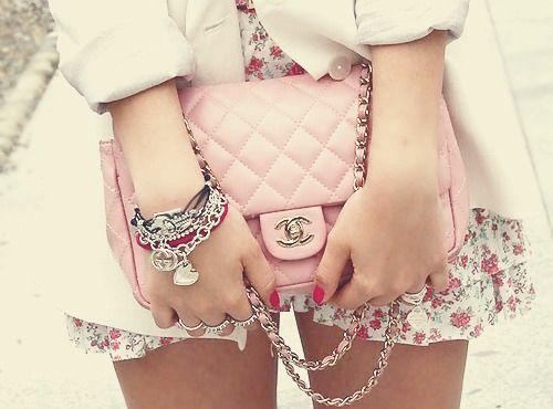 pink chanel bag.: