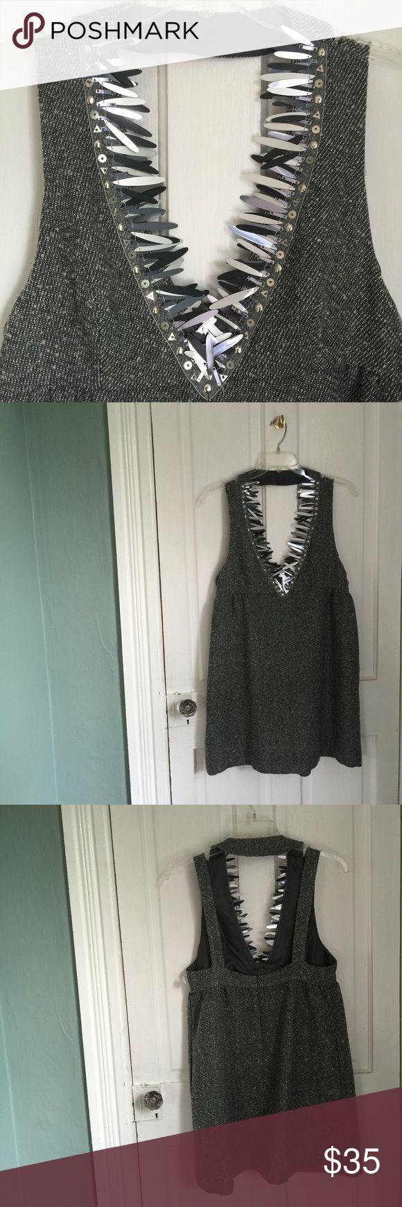 Anna Sui for Target tweed jumper NWOT Beautiful! Anna Sui for Target tweed with tasteful flecks of silver jumper with Dramatic sequined neckline! A stunning piece. Perfect for your holiday party! Never worn! Anna Sui Dresses Mini