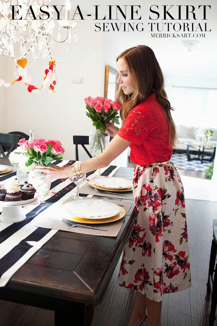 Merrick's Art // Style + Sewing for the Everyday Girl: 5 TIPS FOR THROWING A VALENTINE'S DAY PARTY + A FLORAL MIDI SKIRT TUTORIAL