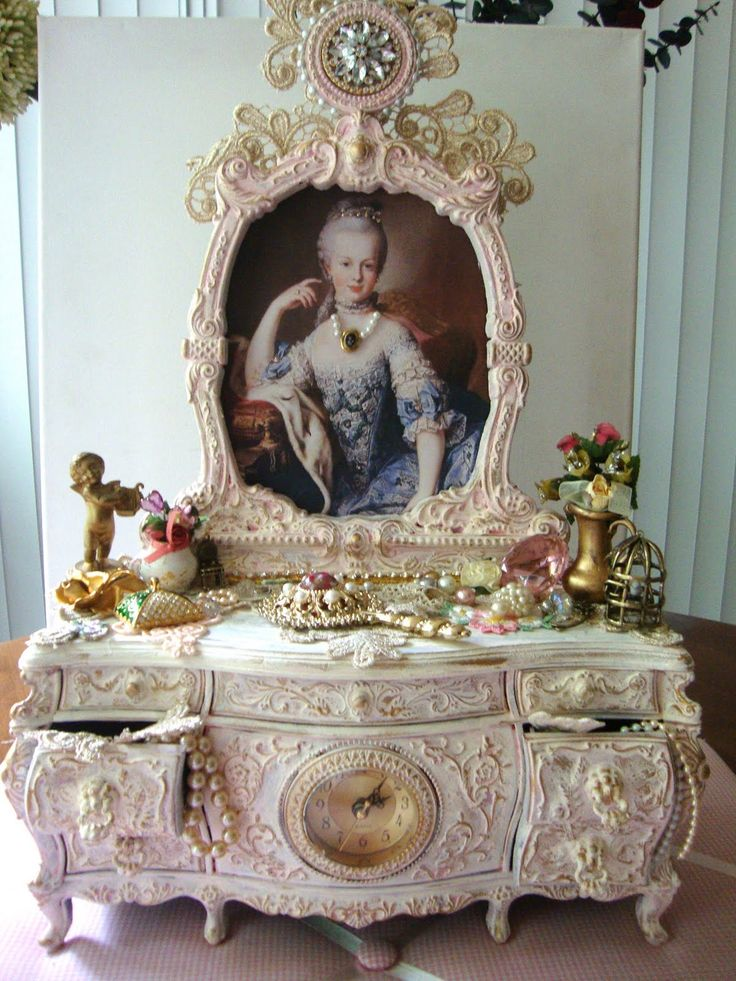 """My Marie Antoinette Vanity Hey Ladies, I found this vanity musical jewelry box at one of my local thrift stores and it was a very dark red color. Since I loooove Marie Antoinette so much and my craft studio is very Shabby Chic I decided to transformed this vanity. I love how it turned out. Enjoy!!"""