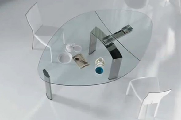 Contemporary Dining Furniture Design, Daytona Glass Extendable Table by Cattelan