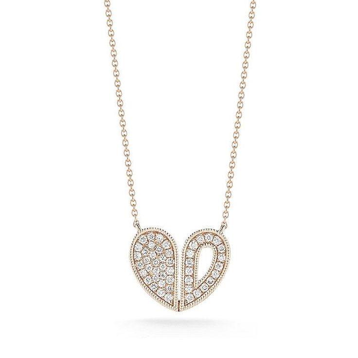 ARIA SELENE: Rose Gold Heart Diamond Necklace
