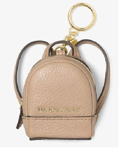 Michael Kors Rhea Leather Key Fob Keychain Backpack Bisque Coin Purse Charm NWT #MichaelKors
