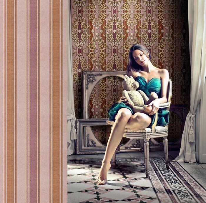 Barok behang EDEM 580-34 opgeschuimd vinylbehang gestructureerd in textiel look en metalen accenten bruin roodbruin parelmoer-goud zilver 5,33 m2 – Bild 2