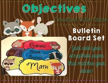 You are purchasing a set of six woodland themed objective headers that you can use with scrapbook paper of your choice to display your objectives/I can statements. The colors are:*Pink*Orange*Yellow*Green*Blue*PurpleThe set is editable with Microsoft PowerPoint, so you are free to use any wordings on your headings and the fonts of your choice.The font I used is called Strawberry Limeade from KG fonts.