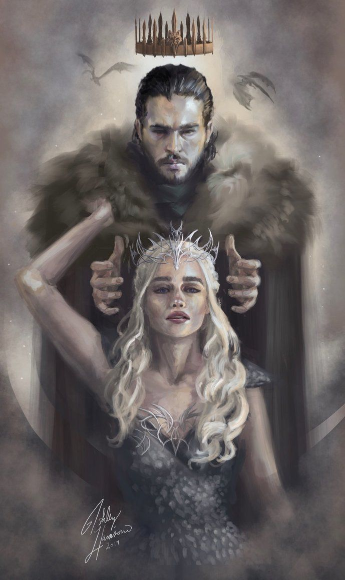 "Artwork by Asha47110 ""oh so excited for the season premier, Anyways, inspired by Jon's little ""my queen"" speech."" #JonSnow #daenerystargaryen #GameofThrones #fanart #gots7 #Jonerys"