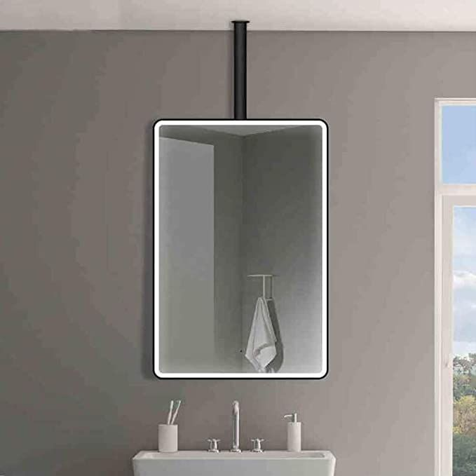 Qz Ceiling Hanging Mirror Smart Bathroom Mirror Black Border Wall Mirror Size 60x80cm In 2020 Hanging Mirror Ceiling Hanging Mirror Installation