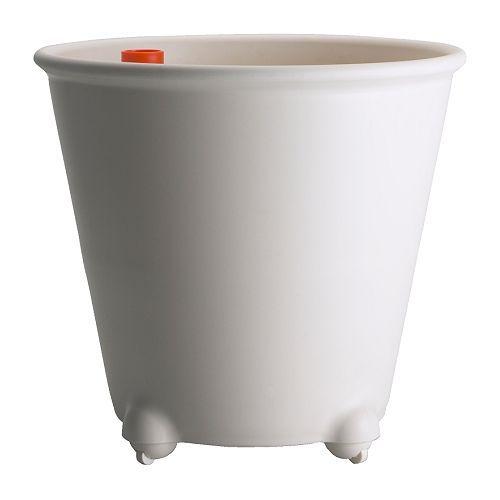 "IKEA PS FEJÖ Self-watering plant pot - white - IKEA $19.99  Outside diameter: 15 ¼ ""  Max. diameter inner pot: 12 ½ ""  Height: 13 ¾ ""  Inside diameter: 13 ¾ """