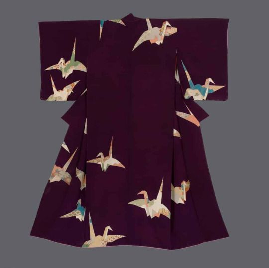 "Kimono. Taisho period (1912-1927), Japan.  The Kimono Gallery. A chirimen silk kimono featuring colorful finely-detailed yuzen-dyed 'orizuru"" (folded paper cranes)."