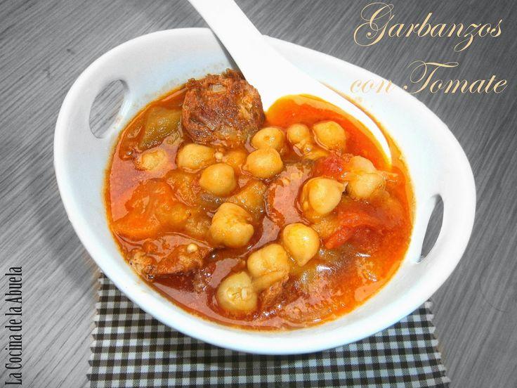Garbanzos con Tomate. Receta paso a paso, receta de pescado sencilla, cocina tradicional. Cuchara.