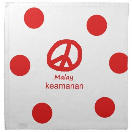 #Malay Language And Peace Symbol Design Napkin - #country gifts style diy gift ideas