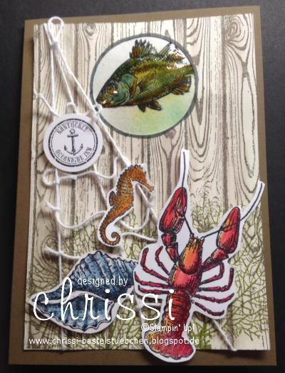 #stampin up by the Tide, #stampin up geburtstagskarte #stampin up hardwood #stampin up birthday Card fish